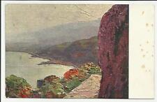 antica cartolina artistica illustrata da polesello taormina villa duca di bronte