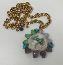 Iradj Moini Semi Precious Gemstones & Quartz Pendant Necklace / Pin Brooch