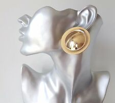 Gorgeous! BIG - HUGE round GOLD tone button disc style CLIP - ON stud earrings