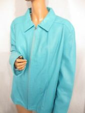 NWT SUPER SOFT LADIES BLUE LEATHER ITALIAN MADE ZIP FRONT LEATHER JACKET L XL