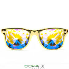 Metallic Gold LE Kaleidoscope Glasses Rave EDM Prism Rainbow Diffraction 3D trip