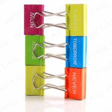 6 x LARGE 32mm Metal Foldback Clips Assorted Colour Filing Bulldog Binder Grip