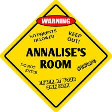 """*Aluminum* Annalise's Room Kids Room Door 12""""x12""""  Metal Novelty Sign"""