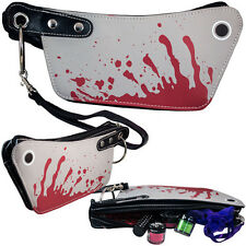 Gothic Horror Red Grey Mini Cleaver Clutch Make-Up Bag Purse Goth Christmas
