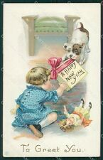 Little Girl Happy New Year Greetings Clapsaddle ? Relief postcard QT5897