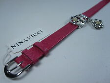 Nina Ricci Rhodium Plated Leather Bracelet - Adjustable Length with Enamel