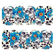 Nail Art Water Decals Full Wraps BLUE Halloween Skulls Flowers Gel Polish (094)