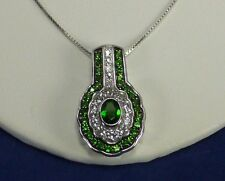 RUSSIAN CHROME DIOPSIDE & WHITE TOPAZ - STERLING SILVER PENDANT WITH CHAIN