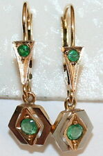 ANTIQUE FRENCH VICTORIAN BI COLOR 18K GOLD EMERALD DANGLE FINE EARRINGS c 1900