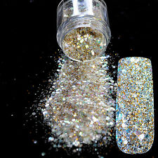 UV Nail Art Glitter Powder Abalone Sequins Mix Golden Colorful Dust N281