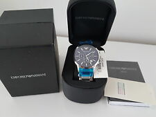 100% NEW MEN'S EMPORIO ARMANI AR2448 BLUE CHRONOGRAPH WATCH