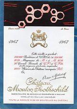 PAUILLAC 1EGCC ETIQUETTE CHATEAU MOUTON ROTHSCHILD 1967 73 CL DECOREE §02/01/17§