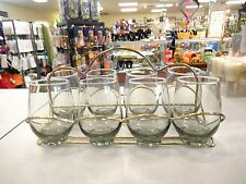 Set Of 8 Libbey Roly Poly Tempo 12 Oz Stemless Vintage Tumbler Glass Carry Caddy