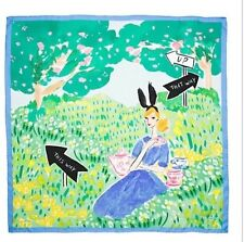 KATE SPADE Illustrated SQUARE SCARF ALICE blue NWT $88.00 SILK