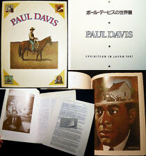 1987 PAUL DAVIS ART EXHIBITION IN JAPAN + 5 PAGES OF REVIEWS + COMPLIMENTS CARD