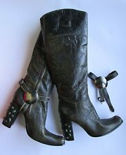 GIANNI BARBATO Knee High Boots Brown Patent Leather Wood Heels Stones EU 39/US 8
