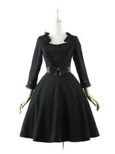 NEW PYON BLACK WINTER DEBUTANTE DRESS M/L LOLITA HARAJUKU GOTH PUNK-RAVE USA