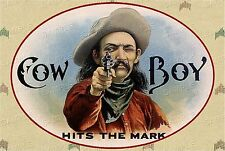 VINTAGE Western COWBOY Antique Era *CANVAS* Cigar Box Label Art  ~  LARGE