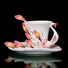 Collectible Porcelain Pure Pink Peacock Coffee Set/Tea Set Cup/Saucer/Spoon Gift