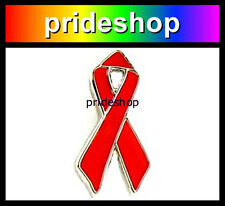 Red Ribbon MINI AIDS Awareness Metal And Enamel Badge Lapel Pin Lesbian Gay #522