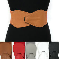 WOMEN ELASTIC WIDE HOOK Bowknot WAIST HIP White BELT Stretch Leather Belts *USA*