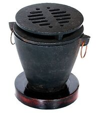 Cast Iron w/Wood Base Hibachi Set Grill Charcoal Barbecue BBQ Outdoor Cooking