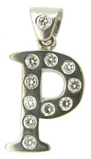 Ladies mens diamond initial 'P' pendant 18ct 18Carat white gold 0.35Carat H VVS2