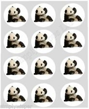 12 Oso Panda Cachorro Cupcake Decoración Comestible Cake Toppers pre corte 40 Mm Chino