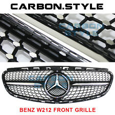 Gloss Black Diamond 14-16 Mercedes Benz E-Class W212 E63AMG Look Front Grille
