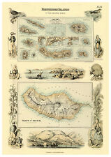 The Azores Madeira Atlantic Ocean illustrated map Fullarton ca.1872