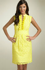SHOSHANNA Yellow Circle Eyelet Cotton Sleeveless Career Party Dress - 6 S/M