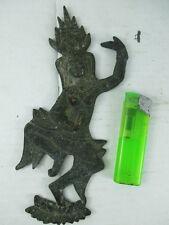 altes Bronze Relief Thailand 1930 Tempeltänzerin Shakti Lady Buddha Amulett 20cm