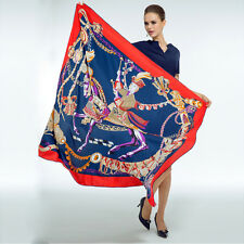 "Women's Red&Blue Big Head Shawl with Euro Fashion Printed Square Scarf 51""*51"""