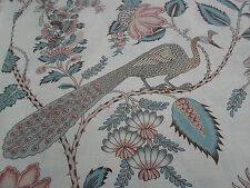 Schumacher Curtain Fabric  'Campagne'  1.6 METRES Peacock & Rouge - Country Chic
