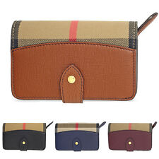 Burberry House Check Leather Wallet - Black/Mahogany Red/Ink Blue/Tan