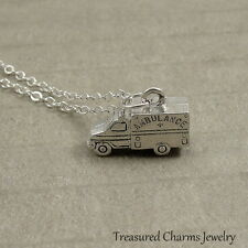 Silver Ambulance Necklace - EMT Nurse Doctor Hospital Charm Pendant NEW