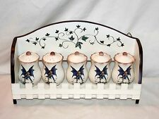 NEW 5pc FAIRY KITCHEN SPICE HOLDERS & WOOD RACK AMY BROWN RETIRED COLLECTION