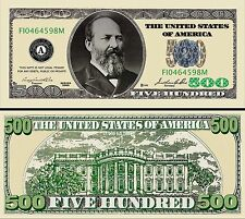 "JAMES GARFIELD - BILLET ""500 DOLLAR US"" -  Collection President Million Histoire"
