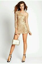 $209 GUESS GOLD SEQUINED ONE-SHOULDER DRESS SZ L
