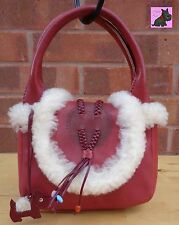 RADLEY - Mini Red Leather Grab Bag with Inuit Design *Excellent Condition*