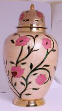 Large Cremation Urn for Ashes, Adult Funeral Memorial Pink Flower Brass Urn