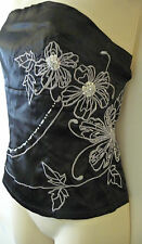 BNWT AX PARIS BLACK SATIN EMBROIDERED FLOWER & SEQUIN TOP SIZE 10 RRP £18.95