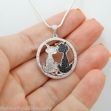Two Sitting Cats Necklace - 925 Sterling Silver - Black and White Cat Jewelry CZ