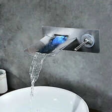 LED Wide Waterfall Spout Nickel Tap Bathroom Flick Basin Mixer Wall Mounted NEW