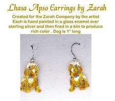 Enameled Sterling LHASA APSO Dog Earrings ZARAH