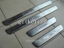 Stainless Chrome Aluminium Door Scuff Sill Plates Steel For MAZDA 3 2004-2009