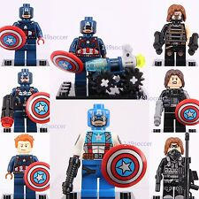 8pcs Super Hero Captain America & Winter Soldier Marvel mini Figures Custom Lego