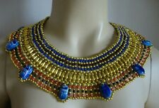 Ancient Egyptian Queen Cleopatra Beaded Collar Necklace Hand Made Halloween