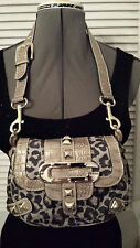Fancy Guess Purse, Animal Print with Gold Trim, Small with Wide shoulder Strap