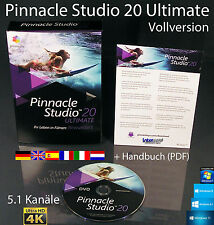 Pinnacle Studio 20 ULTIMATE VERSIONE COMPLETA BOX + DVD 4k video software + manuale NUOVO